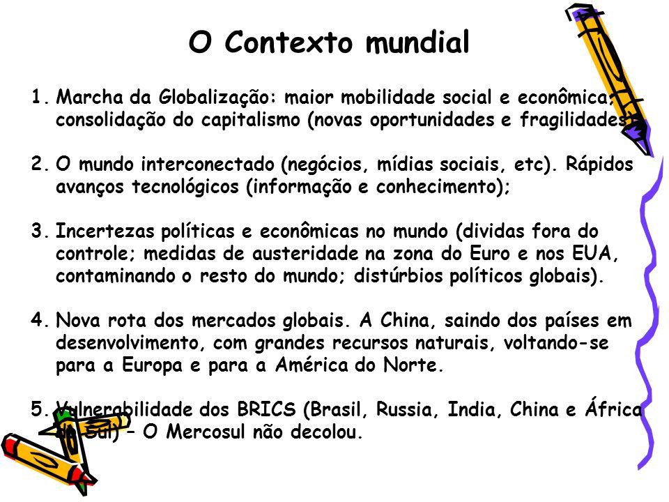O Contexto mundial 1.Marcha da Globalização: maior mobilidade social e econômica; consolidação do capitalismo (novas oportunidades e fragilidades); 2.