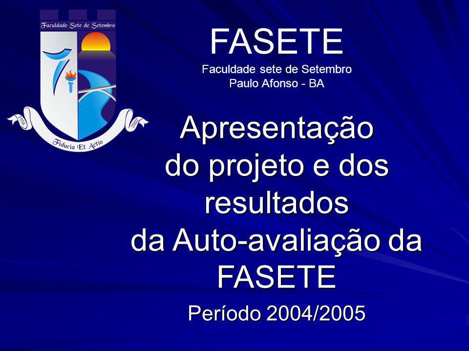 Apresentação do projeto e dos resultados da Auto-avaliação da FASETE Período 2004/2005 FASETE Faculdade sete de Setembro Paulo Afonso - BA
