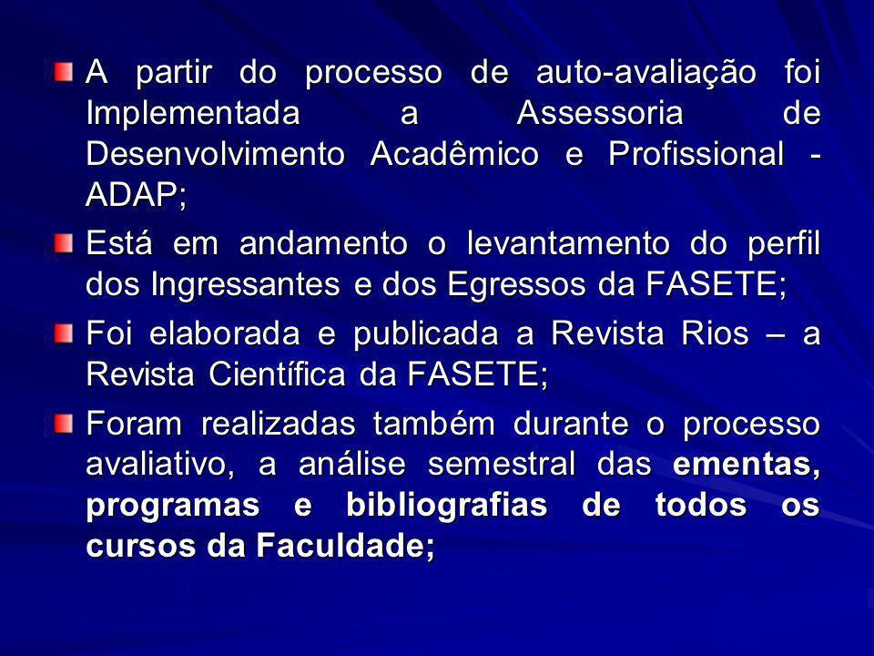 A partir do processo de auto-avaliação foi Implementada a Assessoria de Desenvolvimento Acadêmico e Profissional - ADAP; Está em andamento o levantame
