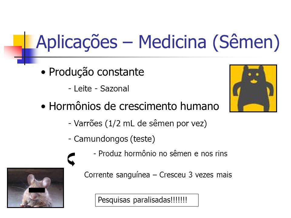 Aplicações – Medicina (Sêmen) Produção constante - Leite - Sazonal Hormônios de crescimento humano - Varrões (1/2 mL de sêmen por vez) - Camundongos (