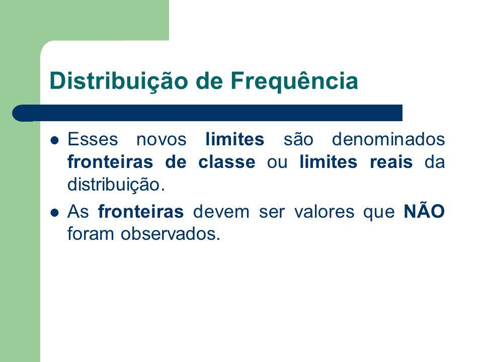 Distribuição de Frequência Esses novos limites são denominados fronteiras de classe ou limites reais da distribuição. As fronteiras devem ser valores
