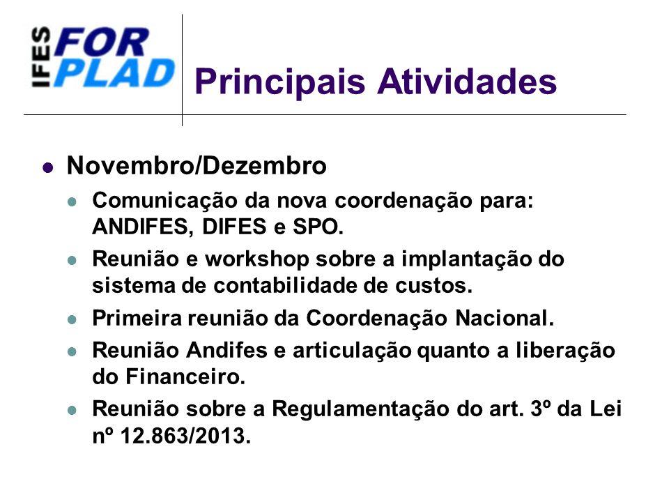 Principais Atividades Novembro/Dezembro Comunicação da nova coordenação para: ANDIFES, DIFES e SPO. Reunião e workshop sobre a implantação do sistema