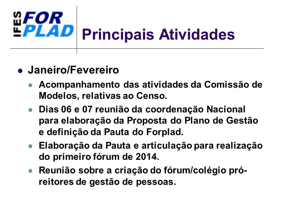 Principais Atividades Janeiro/Fevereiro Acompanhamento das atividades da Comissão de Modelos, relativas ao Censo.