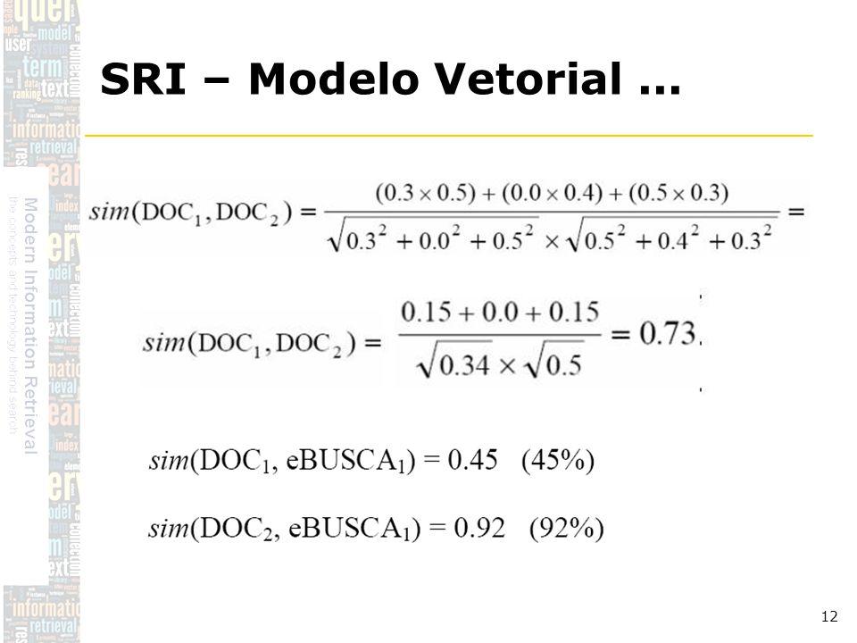 DSC/CCT/UFCG 12 SRI – Modelo Vetorial...