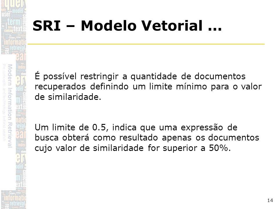 DSC/CCT/UFCG 14 É possível restringir a quantidade de documentos recuperados definindo um limite mínimo para o valor de similaridade. Um limite de 0.5