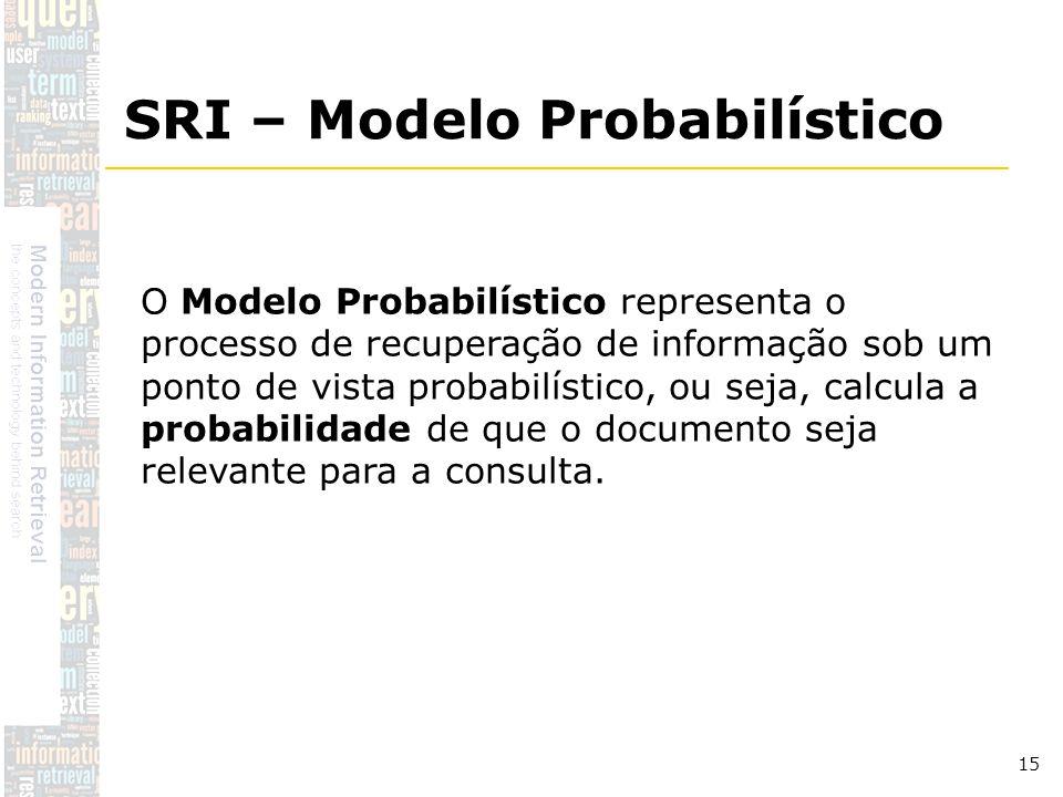 DSC/CCT/UFCG 15 O Modelo Probabilístico representa o processo de recuperação de informação sob um ponto de vista probabilístico, ou seja, calcula a pr