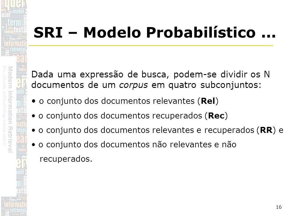 DSC/CCT/UFCG 16 Dada uma expressão de busca, podem-se dividir os N documentos de um corpus em quatro subconjuntos: o conjunto dos documentos relevante