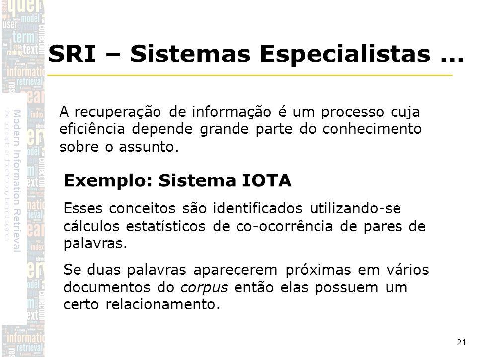 DSC/CCT/UFCG 21 A recuperação de informação é um processo cuja eficiência depende grande parte do conhecimento sobre o assunto. SRI – Sistemas Especia