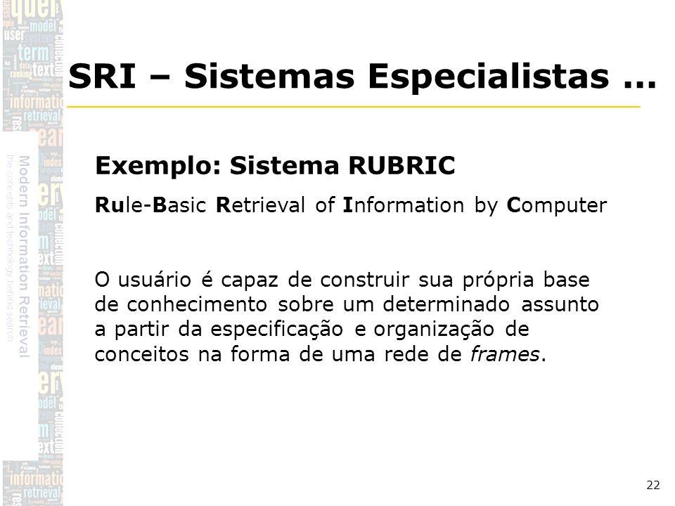 DSC/CCT/UFCG 22 Exemplo: Sistema RUBRIC Rule-Basic Retrieval of Information by Computer O usuário é capaz de construir sua própria base de conheciment