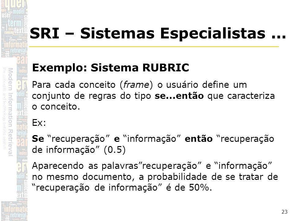 DSC/CCT/UFCG 23 Exemplo: Sistema RUBRIC Para cada conceito (frame) o usuário define um conjunto de regras do tipo se...então que caracteriza o conceit