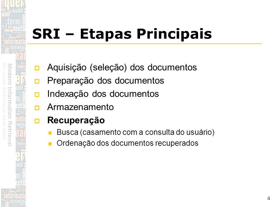 DSC/CCT/UFCG 4 SRI – Etapas Principais Aquisição (seleção) dos documentos Preparação dos documentos Indexação dos documentos Armazenamento Recuperação