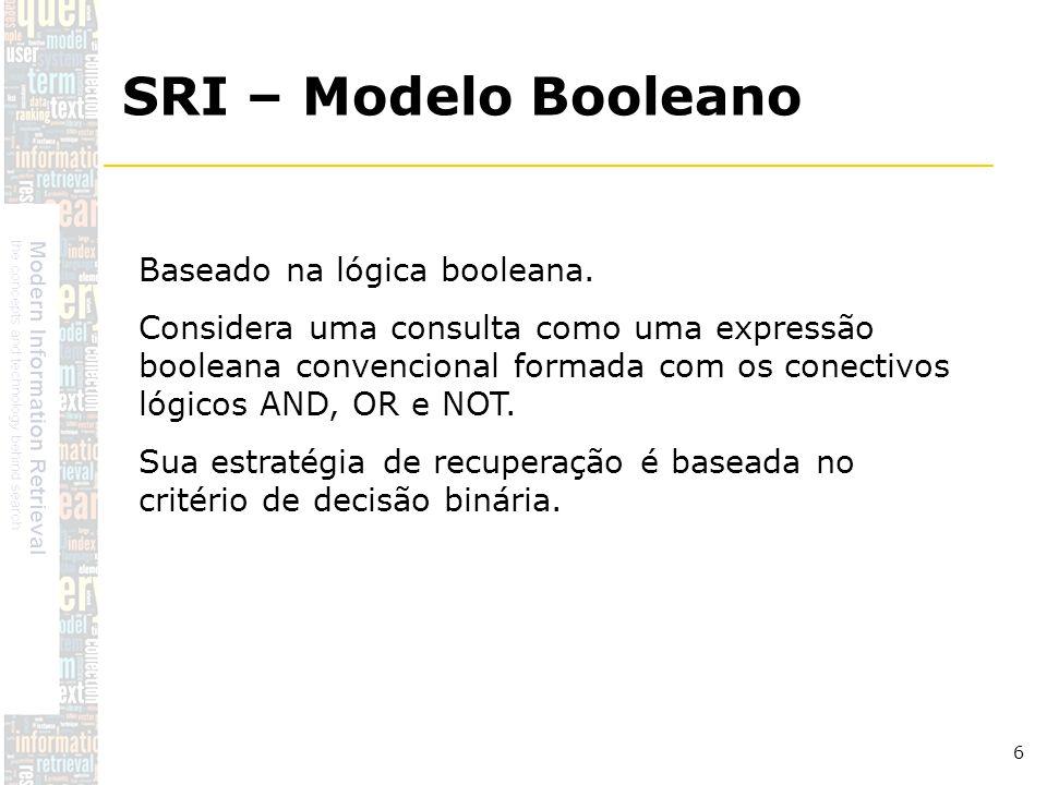 DSC/CCT/UFCG 6 Baseado na lógica booleana. Considera uma consulta como uma expressão booleana convencional formada com os conectivos lógicos AND, OR e