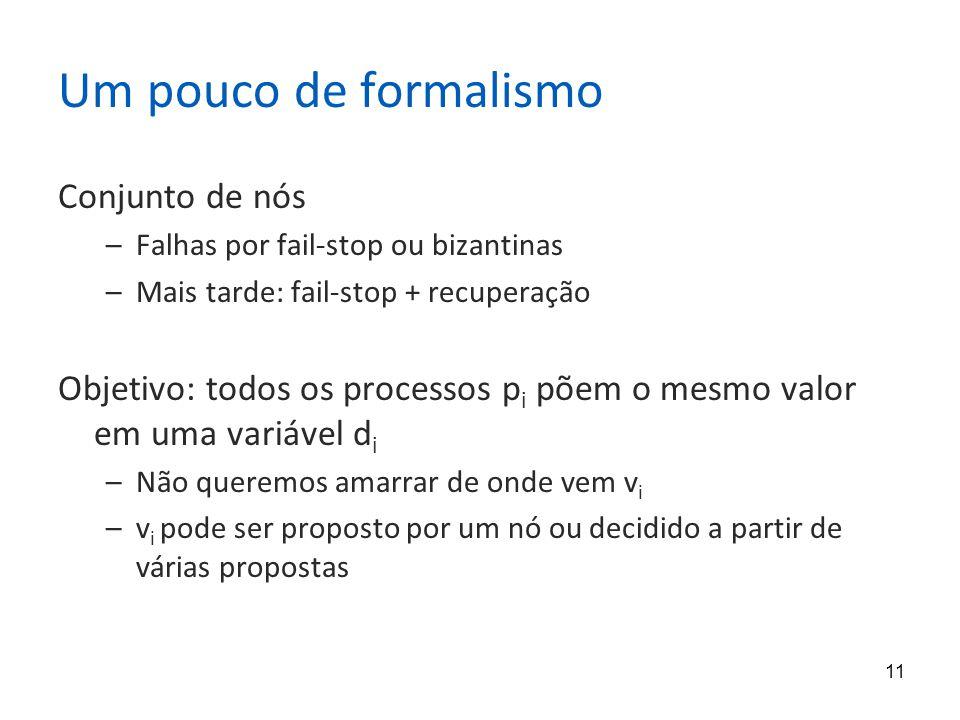 11 Um pouco de formalismo Conjunto de nós –Falhas por fail-stop ou bizantinas –Mais tarde: fail-stop + recuperação Objetivo: todos os processos p i põ