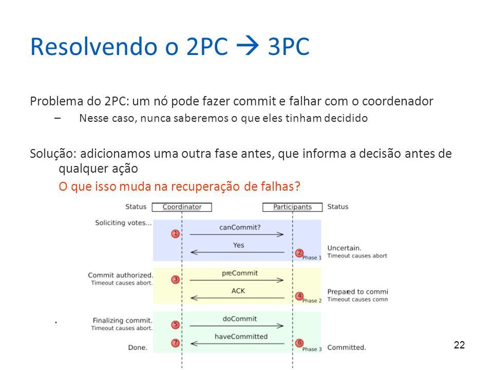 22 Resolvendo o 2PC 3PC Problema do 2PC: um nó pode fazer commit e falhar com o coordenador –Nesse caso, nunca saberemos o que eles tinham decidido So