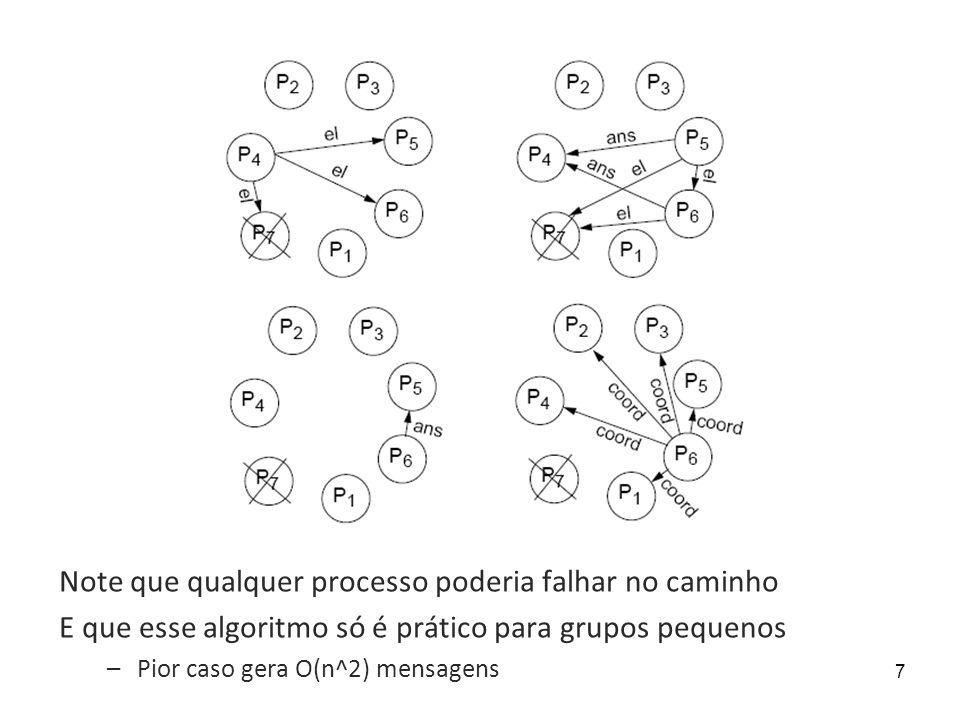 8 Algoritmo de anel Nós se organizam numa topologia de anel Quando um nó percebe que líder anterior falhou, inicia eleição –Passa vetor com seu id adiante no anel –Quando recebe vetor de volta com seu id, o vetor deu a volta e quem tem o maior id é o novo líder Em média mais eficiente que o algoritmo do valentão Porém ainda adequado apenas para grupos pequenos