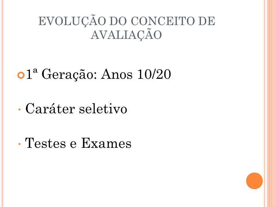 EVOLUÇÃO DO CONCEITO DE AVALIAÇÃO 1ª Geração: Anos 10/20 Caráter seletivo Testes e Exames