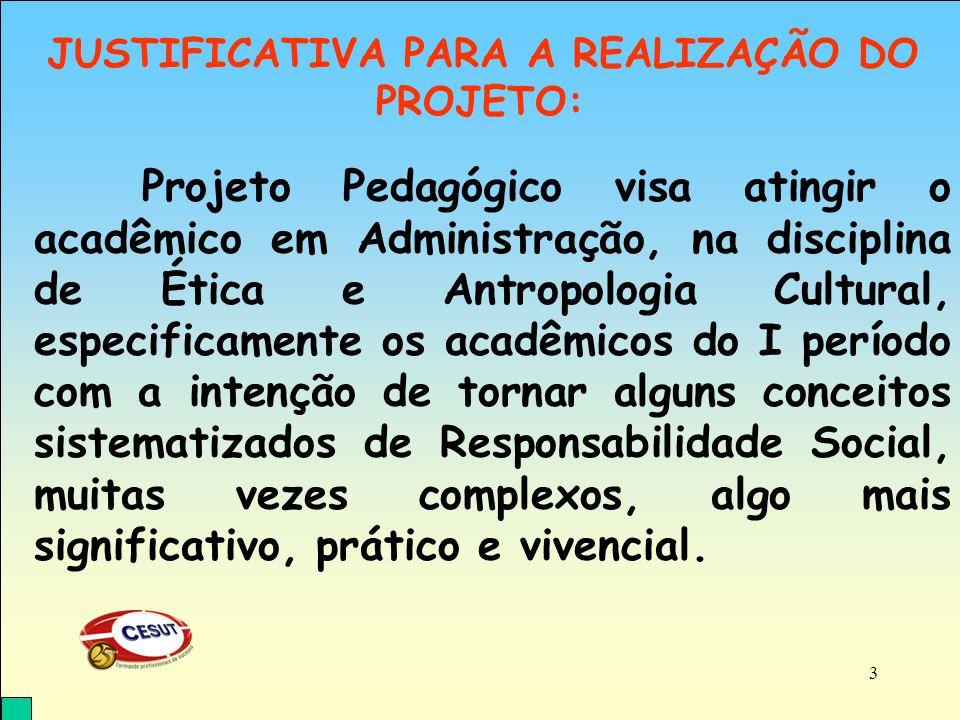 O Projeto se desenvolveu a partir de uma visão ética social e empresarial, utilizando-se da prática social como referência.
