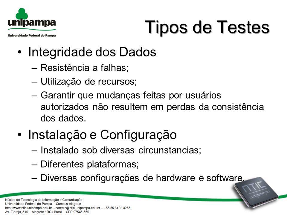 Tipos de Testes Integridade dos Dados –Resistência a falhas; –Utilização de recursos; –Garantir que mudanças feitas por usuários autorizados não resultem em perdas da consistência dos dados.