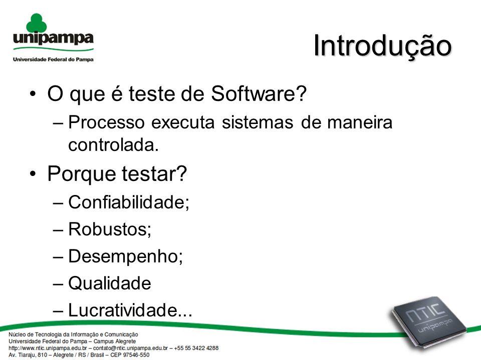 Introdução O que é teste de Software.–Processo executa sistemas de maneira controlada.