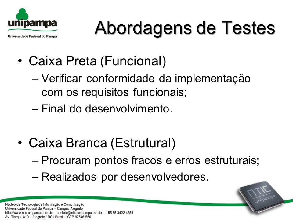 Abordagens de Testes Caixa Preta (Funcional) –Verificar conformidade da implementação com os requisitos funcionais; –Final do desenvolvimento.