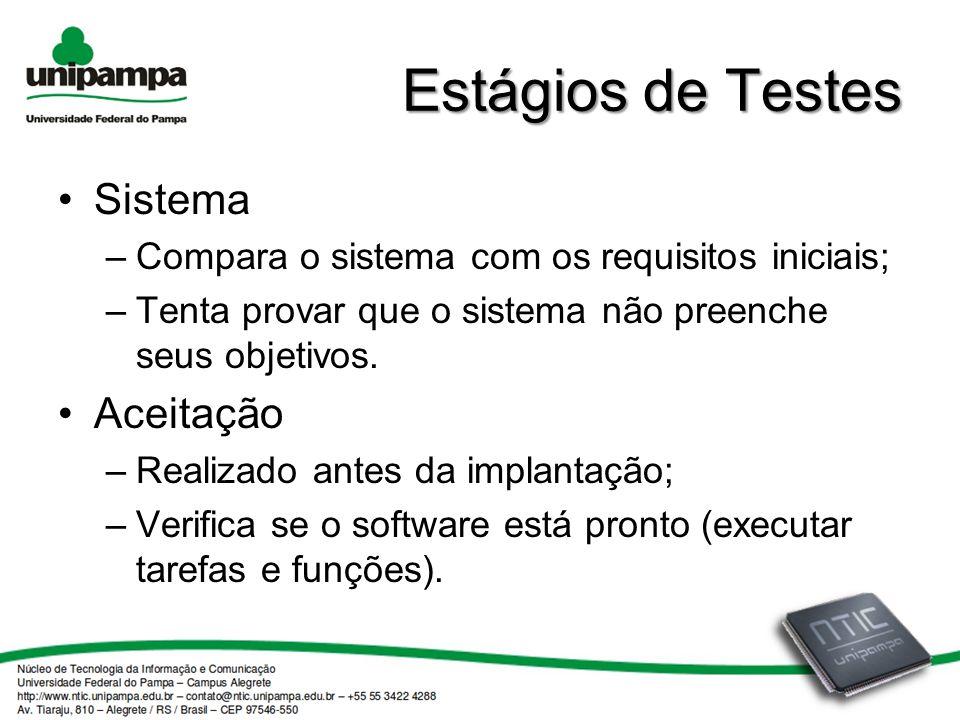 Estágios de Testes Sistema –Compara o sistema com os requisitos iniciais; –Tenta provar que o sistema não preenche seus objetivos.
