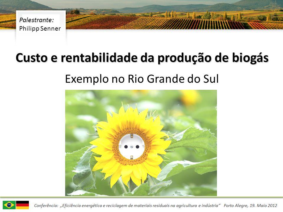 Determinação do potencial do uso de biogás – Fonte de matérias primas, procedimentos – Análise GIS, escolha do local – Avaliação de matérias primas Exemplo de cálculos de custos e rentabilidade – Exemplo de Sistema de análise de rentabilidade – Fatores Econômicos – Evolução dos preços e previsões Conclusão Agenda