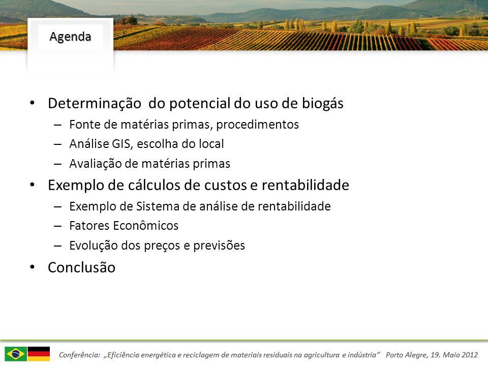 Determinação do potencial do uso de biogás – Fonte de matérias primas, procedimentos – Análise GIS, escolha do local – Avaliação de matérias primas Ex