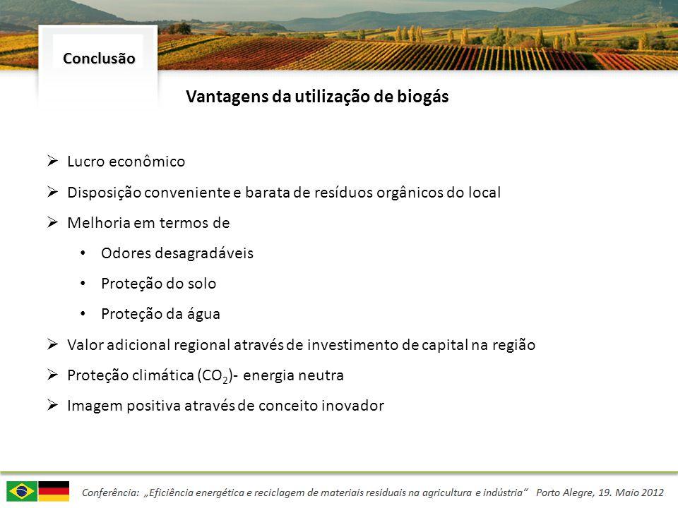Lucro econômico Disposição conveniente e barata de resíduos orgânicos do local Melhoria em termos de Odores desagradáveis Proteção do solo Proteção da