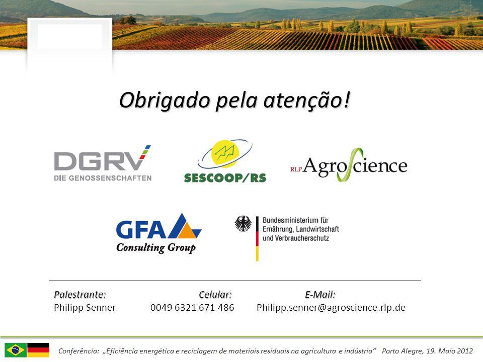 Obrigado pela atenção! Palestrante:Celular: E-Mail: Philipp Senner0049 6321 671 486 Philipp.senner@agroscience.rlp.de