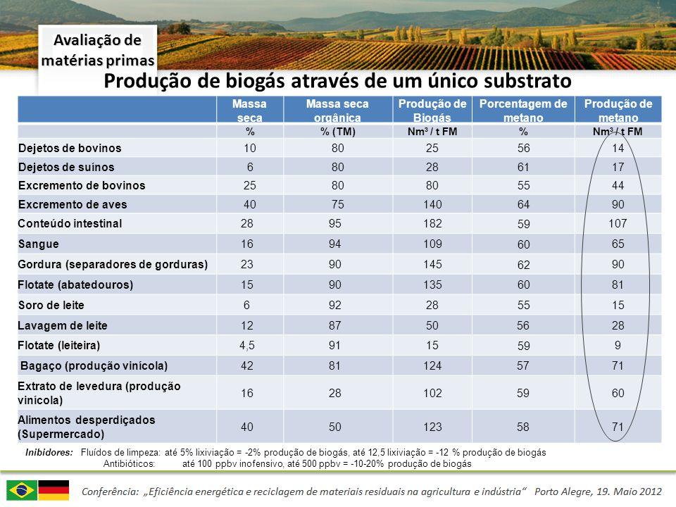 Produção de biogás através de mistura de substratos (co-fermentação) Teste em laboratório de produção anaeróbia de biogás: Massa seca Massa seca orgânica Produção de biogás Quantidade de metano Tempo ótimo de fermentação Avaliação de matérias primas