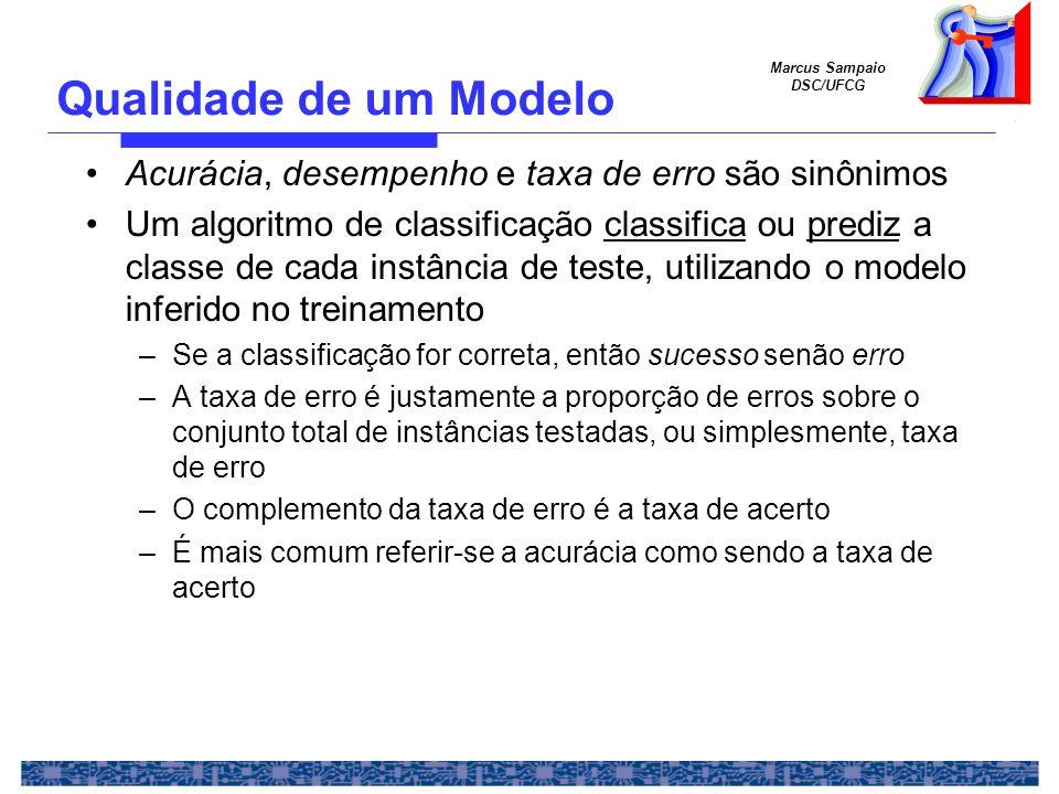 Marcus Sampaio DSC/UFCG Acurácia, desempenho e taxa de erro são sinônimos Um algoritmo de classificação classifica ou prediz a classe de cada instância de teste, utilizando o modelo inferido no treinamento –Se a classificação for correta, então sucesso senão erro –A taxa de erro é justamente a proporção de erros sobre o conjunto total de instâncias testadas, ou simplesmente, taxa de erro –O complemento da taxa de erro é a taxa de acerto –É mais comum referir-se a acurácia como sendo a taxa de acerto Qualidade de um Modelo