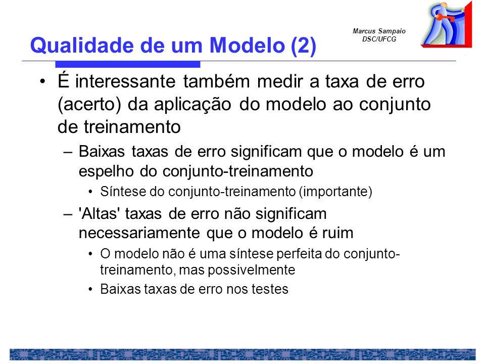 Marcus Sampaio DSC/UFCG É interessante também medir a taxa de erro (acerto) da aplicação do modelo ao conjunto de treinamento –Baixas taxas de erro significam que o modelo é um espelho do conjunto-treinamento Síntese do conjunto-treinamento (importante) – Altas taxas de erro não significam necessariamente que o modelo é ruim O modelo não é uma síntese perfeita do conjunto- treinamento, mas possivelmente Baixas taxas de erro nos testes Qualidade de um Modelo (2)