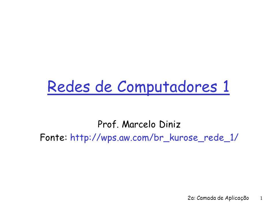 1 Redes de Computadores 1 Prof. Marcelo Diniz Fonte: http://wps.aw.com/br_kurose_rede_1/ 2a: Camada de Aplicação
