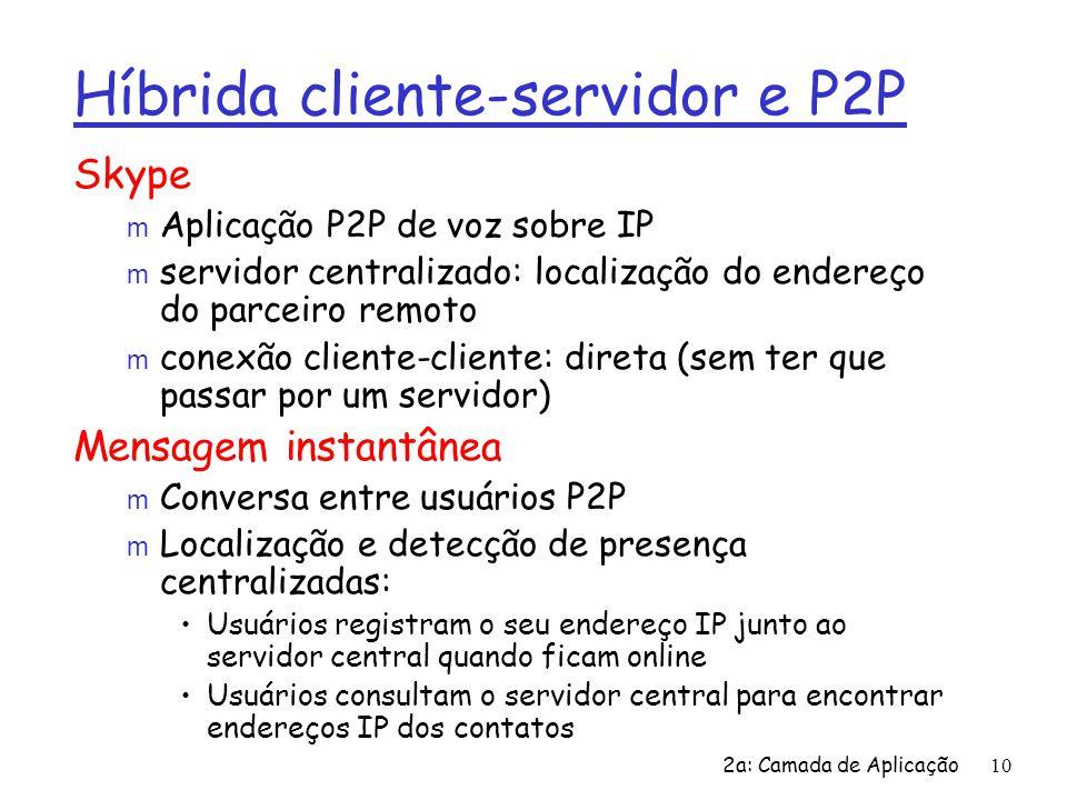 2a: Camada de Aplicação10 Híbrida cliente-servidor e P2P Skype m Aplicação P2P de voz sobre IP m servidor centralizado: localização do endereço do par