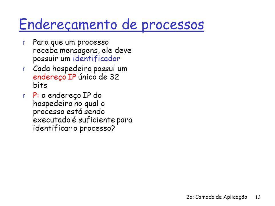 2a: Camada de Aplicação13 Endereçamento de processos r Para que um processo receba mensagens, ele deve possuir um identificador r Cada hospedeiro poss