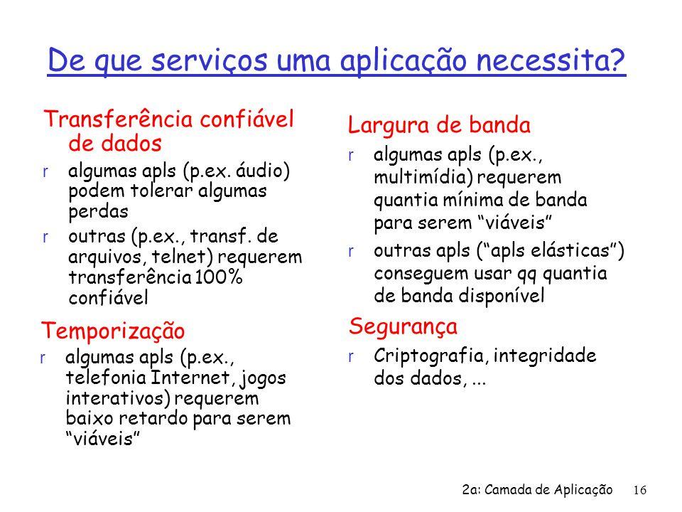 2a: Camada de Aplicação16 De que serviços uma aplicação necessita? Transferência confiável de dados r algumas apls (p.ex. áudio) podem tolerar algumas