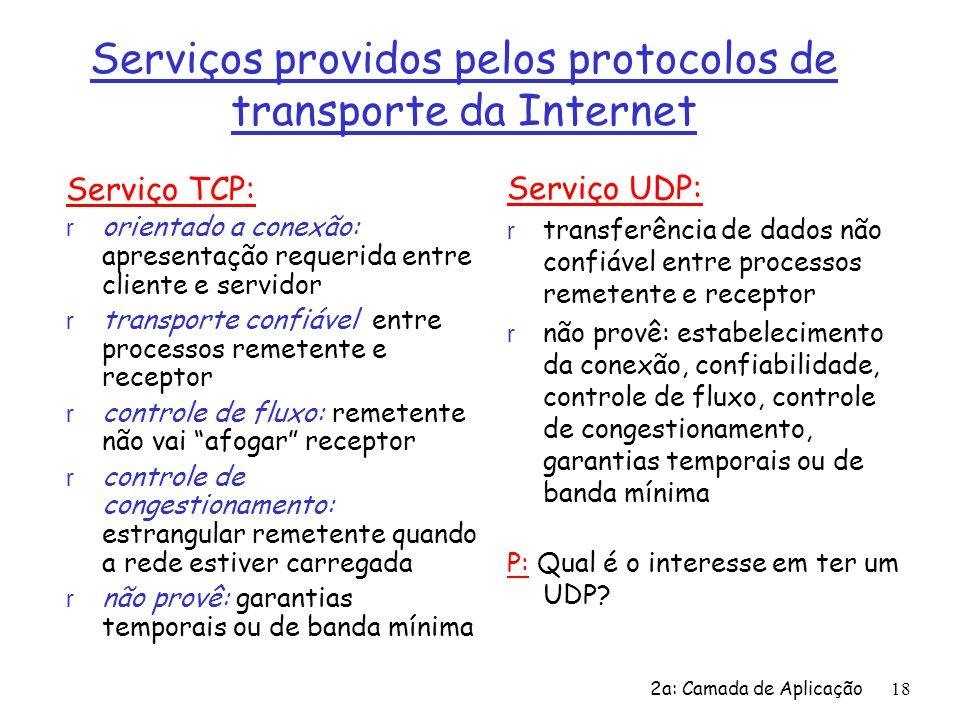 2a: Camada de Aplicação18 Serviços providos pelos protocolos de transporte da Internet Serviço TCP: r orientado a conexão: apresentação requerida entr