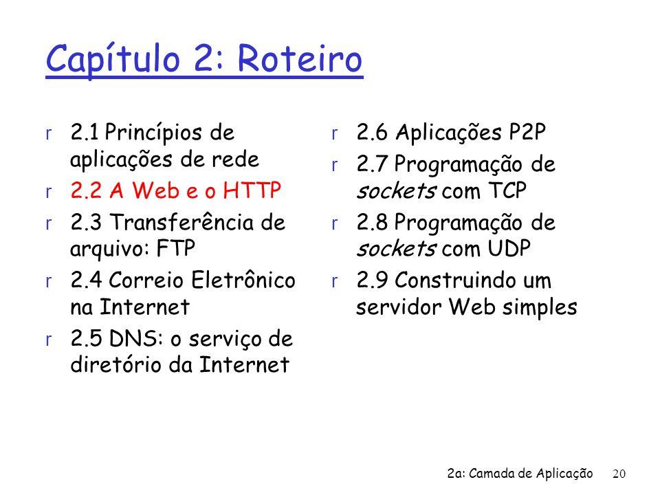 2a: Camada de Aplicação20 Capítulo 2: Roteiro r 2.1 Princípios de aplicações de rede r 2.2 A Web e o HTTP r 2.3 Transferência de arquivo: FTP r 2.4 Co