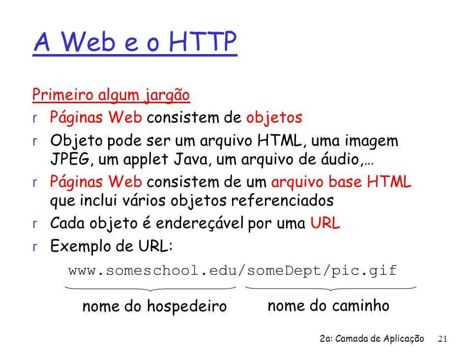 2a: Camada de Aplicação21 A Web e o HTTP Primeiro algum jargão r Páginas Web consistem de objetos r Objeto pode ser um arquivo HTML, uma imagem JPEG,
