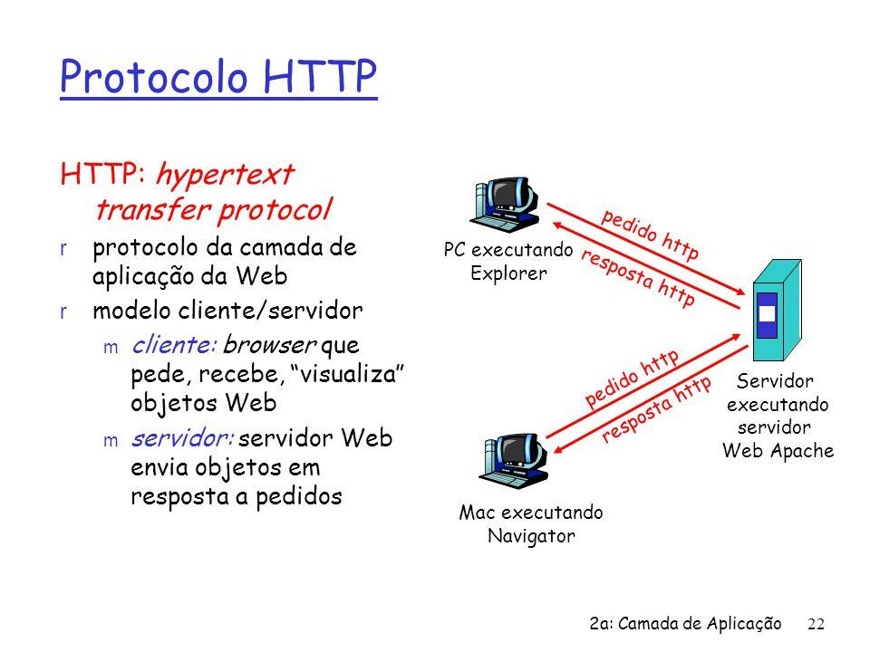 2a: Camada de Aplicação22 Protocolo HTTP HTTP: hypertext transfer protocol r protocolo da camada de aplicação da Web r modelo cliente/servidor m clien
