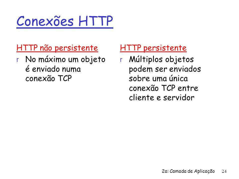 2a: Camada de Aplicação24 Conexões HTTP HTTP não persistente r No máximo um objeto é enviado numa conexão TCP HTTP persistente r Múltiplos objetos pod