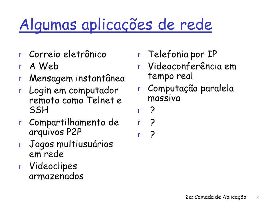 2a: Camada de Aplicação4 Algumas aplicações de rede r Correio eletrônico r A Web r Mensagem instantânea r Login em computador remoto como Telnet e SSH