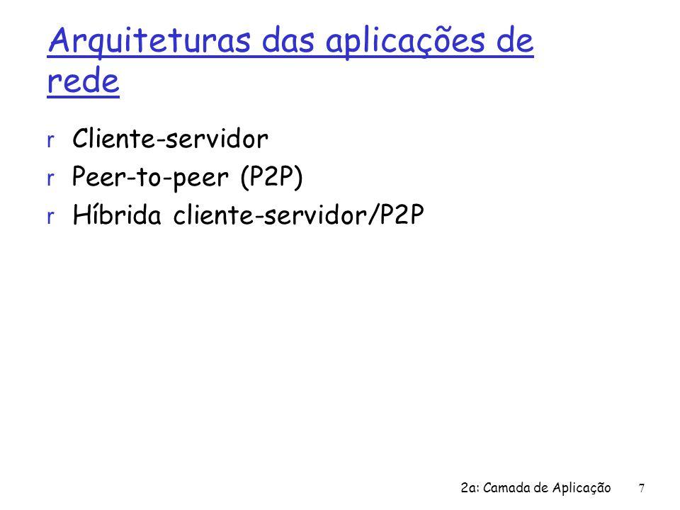 2a: Camada de Aplicação7 Arquiteturas das aplicações de rede r Cliente-servidor r Peer-to-peer (P2P) r Híbrida cliente-servidor/P2P
