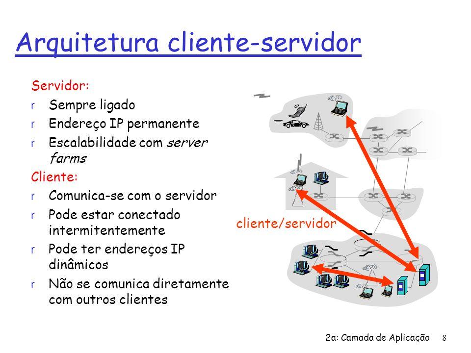 2a: Camada de Aplicação8 Arquitetura cliente-servidor Servidor: r Sempre ligado r Endereço IP permanente r Escalabilidade com server farms Cliente: r