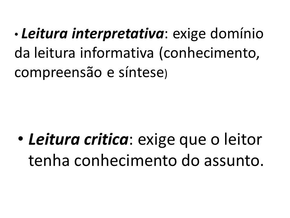 Leitura interpretativa: exige domínio da leitura informativa (conhecimento, compreensão e síntese ) Leitura critica: exige que o leitor tenha conhecim