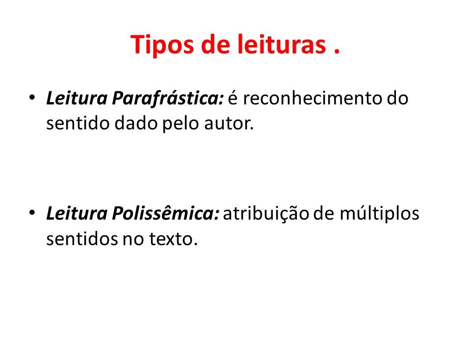 Tipos de leituras. Leitura Parafrástica: é reconhecimento do sentido dado pelo autor. Leitura Polissêmica: atribuição de múltiplos sentidos no texto.
