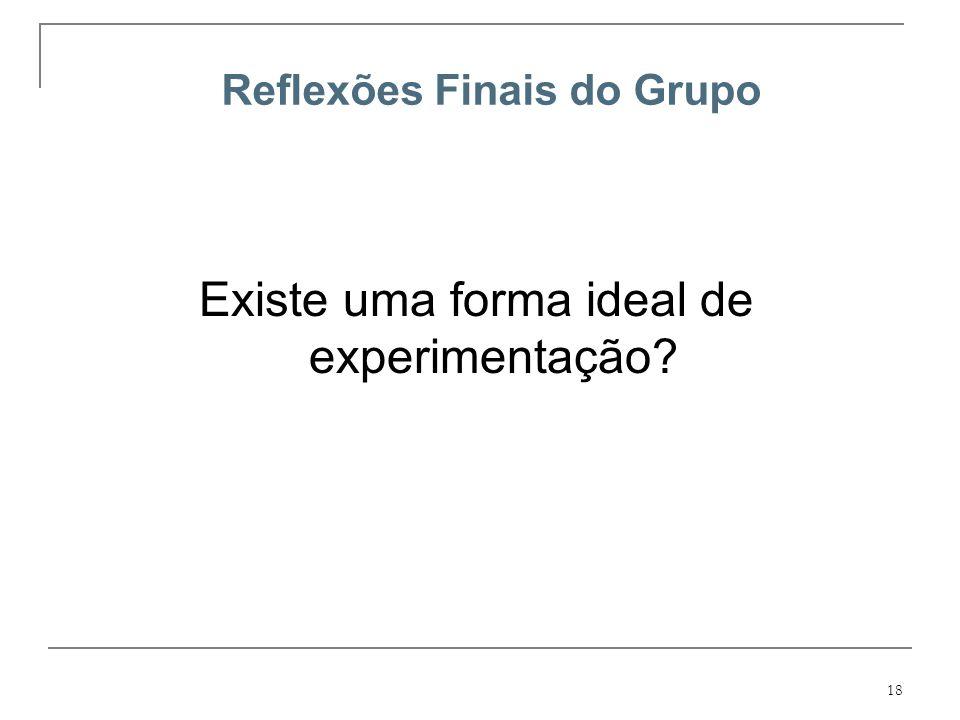 18 Reflexões Finais do Grupo Existe uma forma ideal de experimentação?