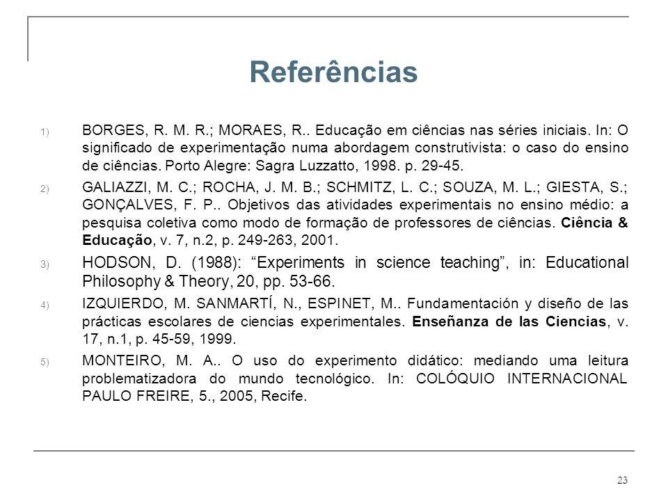 23 Referências 1) BORGES, R. M. R.; MORAES, R.. Educação em ciências nas séries iniciais. In: O significado de experimentação numa abordagem construti
