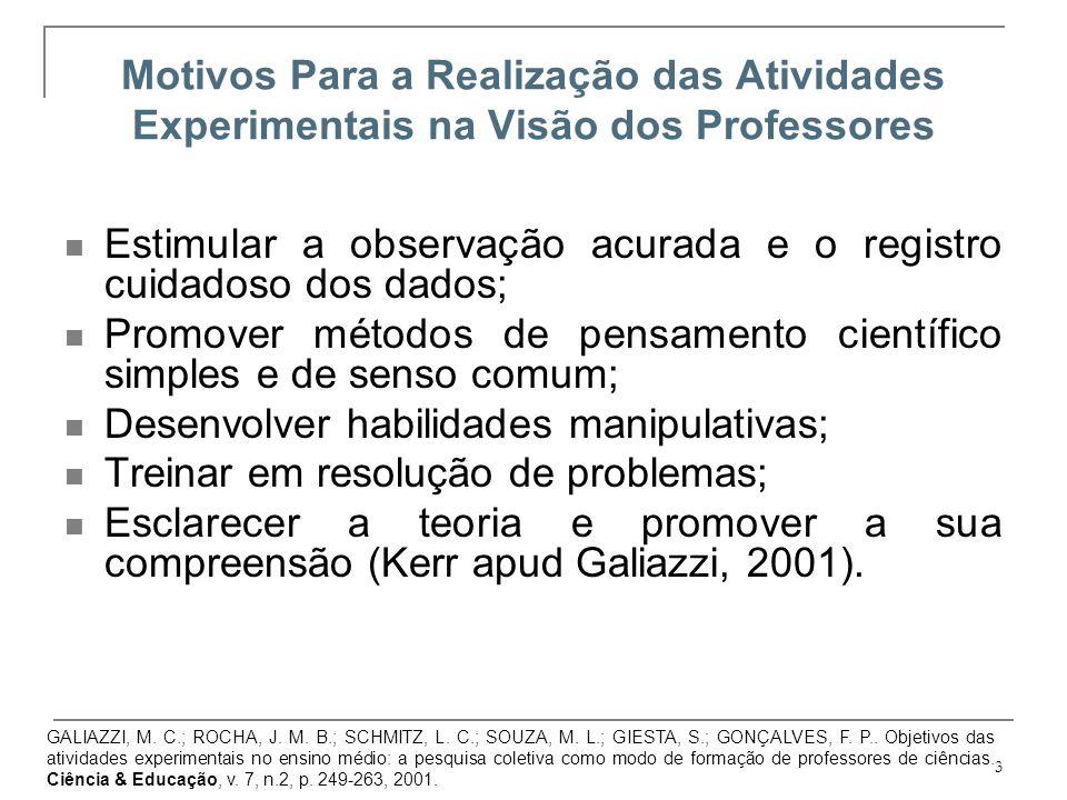 3 Motivos Para a Realização das Atividades Experimentais na Visão dos Professores Estimular a observação acurada e o registro cuidadoso dos dados; Pro