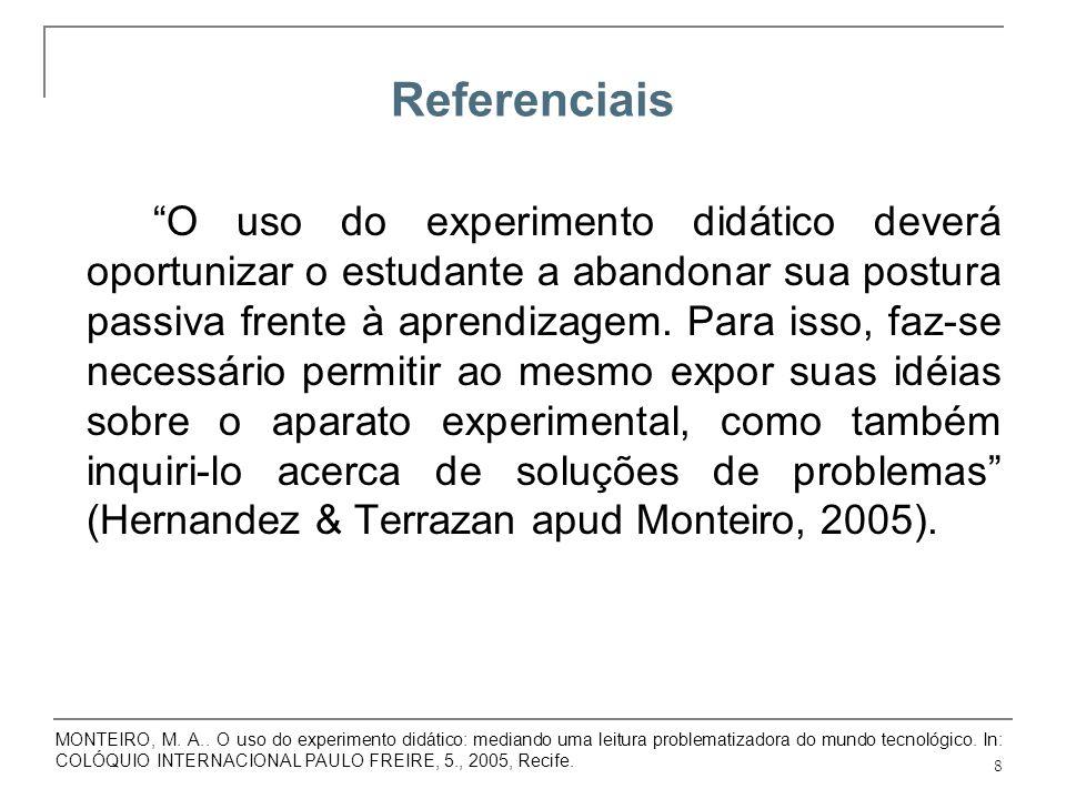 8 Referenciais O uso do experimento didático deverá oportunizar o estudante a abandonar sua postura passiva frente à aprendizagem. Para isso, faz-se n